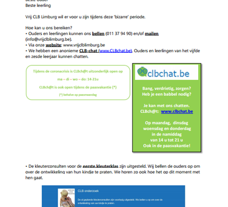 werking en bereikbaarheid vrij CLB Limburg